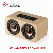 Wood Bluetooth Speaker 10W Brand BY.ideal Mini Portable Wooden Speaker Dual Loudspeakers Wireless Computer Speakers for Phone