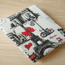 BIG LY 50x150cm Cotton Linen Fabric Print Eiffel Tower Red Butterfly Bowknot  DIY Home Deco Table Cover Throw Pillow Case