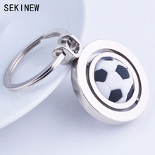 SEKINEW 3D Sports Rotating Basketball football soccer Keychain Keyring Ring Key Fob Ball Gifts For Men Car Ornament Accessories(China)