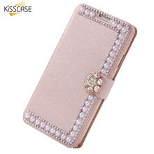 KISSCASE Note 3 Shiny Pearl Flip Cover Case For Samsung Galaxy Note 3 Capa Luxury Glitter Rhinestone Cover Bag Shell Accessories