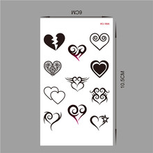 (Min order $0.5) Temporary Tattoo For Woman Waterproof Stickers makeup maquiagem Various forms of the heart tattoo WM134(China)