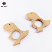 Let's Make Baby Teether Craft Supplies Car Seat Toy 10PC Wooden Dinosaur Toy Unfinished Wooden Dinosaur Pendant Dinosaur Toy
