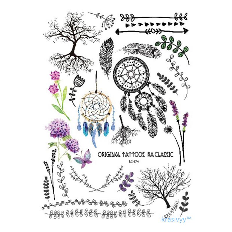17 new style Multi-style Fashion Cool Temporary Tattoo flash tattoo Colorful dreamcather 21x15cm fake tattoo girl tattoos 1