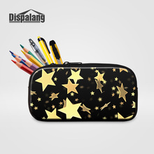 Dispalang Kids Mini Pencil Case Box Pen Bags For School Gold Stars Printing Women Cosmetic Case Children Stationery Pouch Office(China)