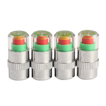 4Pcs Car Auto Air Pressure Alert Indicator Valve Stem Monitor Sensor Caps Car Tire Pressure Alarm 2.4Bar CSL2017(China)