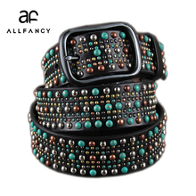 New Color rivet decoration belt wide 100%Head layer cowhide personality studded women's belt Gothic turquoise belt(China)