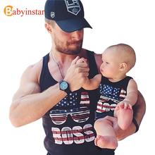Summer 2017 Family Matching Outfits T-shirt Vest Family Look Tees America Flag Father Son Clothes Family Set Sleeveless t Shirt(China)