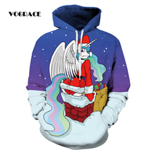 VOGRACE New Fashion Men/Women 3d Sweatshirt Santa Claus Flying Wings Colorful Clouds Chimney Ribbon Starry Hooded Hoodie Jacket(China)