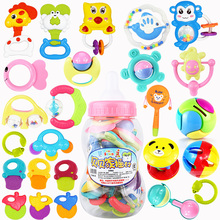 22Pcs/ Set Baby Rattles Hand Shake Bell Ring Rattles Teether Infant Teething Funny Games Gift Giant Baby Bottle Toys Newborn