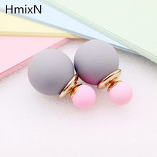 korea simulated Pearl ball Stud Earring Bead Double Side Earring Scrub Dull two Face Way Party Date pendientes Jewelry For Women