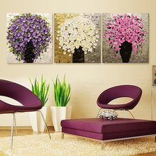 3pcs/set Pictures Painting By Numbers DIY Digital Oil Painting Flower On Canvas wall pictures for living room Home Decor HD0173(China)