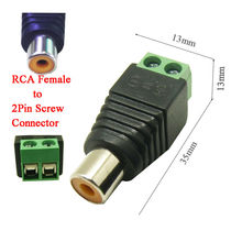 100pcs free shipping CAT5 To Camera CCTV Video AV Balun Phono RCA female jack Connector ,2PIN Terminal block to RCA female