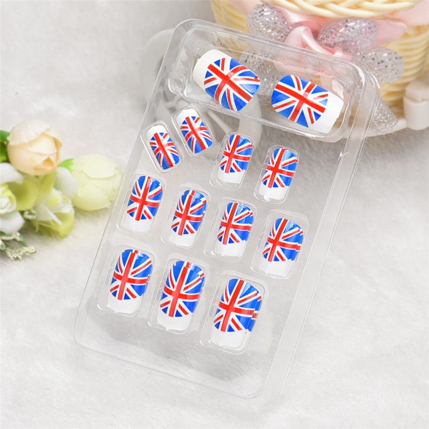 OutTop 24pc White Blue Red UK National Flag Fashion Designed False French Acrylic Nail Tip best nseller#30(China (Mainland))