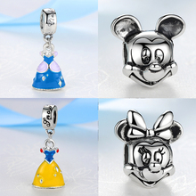 2017 Silver Plated Bead Cartoon Mouse Princess Dress Wallet Pendant Charm Beads Fit Pandora Women Diy Bracelets Bangles Jewelry(China)