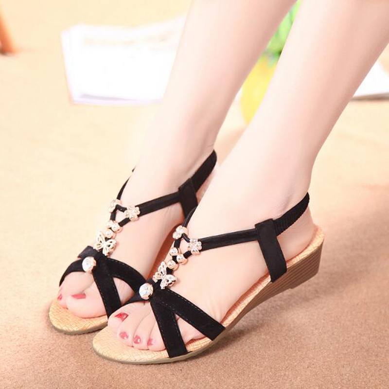 Women sandals 2017 summer comfortable ankle strap casual sandals women elastic band fashion string bead sandalias mujer<br><br>Aliexpress