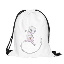 39*30cm 3D mew Printing Pokemon Pocket Drawstring Bag Backpack Oxford Drawstring Pouch Storage Bag Best Women Travel Bag