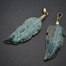 Gold Color Electroplating Blue Ocean Stone Carved Leaf Shape Pendant Fit Fashion Necklace Jewelry Making(China)