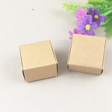 100pcs 4*4*2.5cm brown kraft gift box natural Paper Packing Box,small soap Box Party Wedding Candy Chocolate Bakery Baking Cake