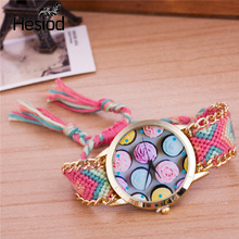 Ice Cream Handmade Braided Friendship Bracelet Watch Hand-Woven Wristwatch Ladies Quarzt Watch Bracelet Watch Multicolor