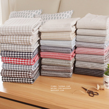 linen cotton fabric clothes curtain table cushion sofa fabric plaid stripe yarn dyed(China)