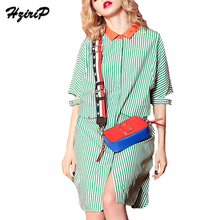 HziriP 2017 Autumn Women Classic Stripes Hit Color Knee Length Batwing Sleeve Loose Women Casual Slim Polo Collar Shirt Dresses