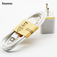 Soznoc Hot 5V 2.1A EU Wall Dual USB Charger + V8 USB data cable for Samsung Galaxy S3 S4 Note 4 5 A5 A7 J3 Mobile phone charger