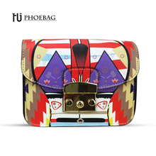 HJPHOEBAG Fashion colour patchwork printing women bag high quality metal straps ladies shoulder bags PU leather sca a ma HJ-S77(China)