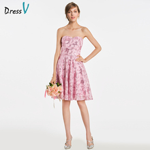 Dressv Sweetheart A Line Bridesmaid Dress Sleeveless Knee Length Sequins Lovely Wedding Party Prom Formal Dress Bridesmaid Dress(China)