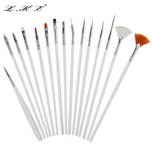 LKE 15pcs Nail Art Tool Polish Drawing Brushes Dotting Tools White Patinting Pens Nail Brush For Gel UV Nail Design Manicure(China)