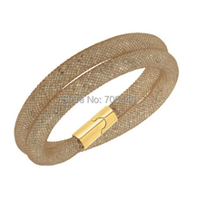 Shiny Golden Crystal Mesh Double Wrap Bracelet Magnetic Clasp Hip Hop Xmas Gift(China)