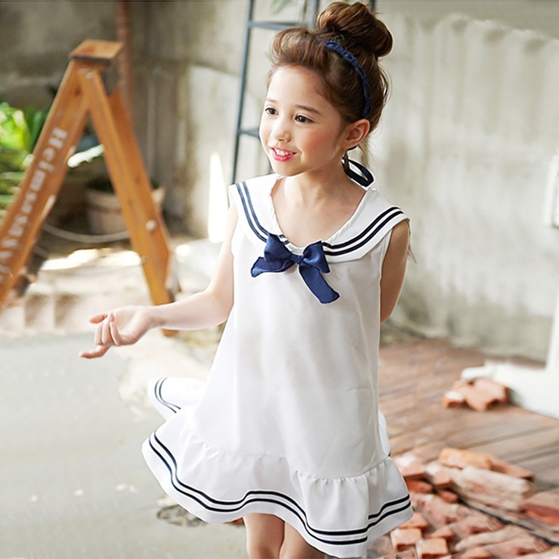 ruffles bow preppy princess dress girl 10 years white summer teenager little girls dresses cotton 2017 school clothing for girl<br><br>Aliexpress