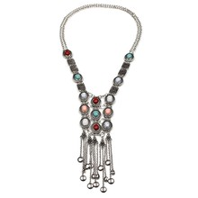 Olsen Twins Vintage Bohemian Tassel Long Necklace Multicolor Stone Boho Necklaces For Women Costume Jewelry(China)