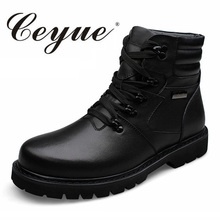 Ceyue New Quality Genuine Leather Big Size 37-48 Casual Boots Men Warm Fur Men Winter Boots Quality Lace Up Casual Shoes For Men(China)