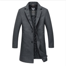 New 2017 4xl 3xl free shipping Winter Wool Coat Slim Fit Jackets Fashion Outerwear Warm Man Casual Jacket Overcoat Pea Coat(China)