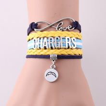 Little Minglou Infinity Love Chargers bracelet football team Charm leather wrap men bracelet & bangles for women jewelry