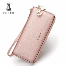 FOXER Brand Women Leather Wallets Luxury Female Purse Women's Clutch Wallet & Credit Bag & Cellphone Bag For Women(China)