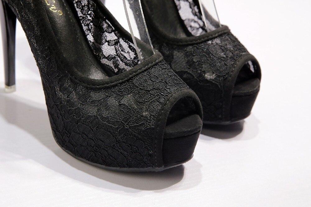 RUIDENG women super high heel wedding pumps 12cm peep toe sweet sexy party shoes lady lace platform 4cm thin heels 5