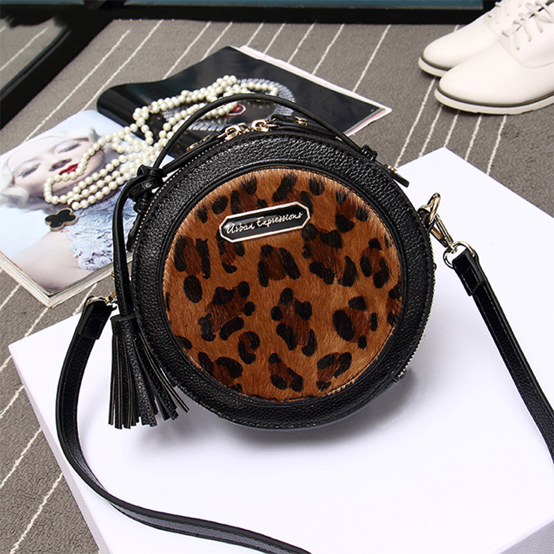 High Quality Women Crossbody Bags Small Shoulder Bags Horse Fur Leopard Fringed Round Bags Female Handbags For Girls<br><br>Aliexpress