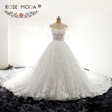 Rose Moda Luxury 3D Flowers French Lace Princess Wedding Ball Gown with Royal Train Removable Cap Sleeves See Through Lace Top(China)