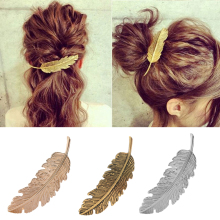 1Pcs Fashion Metal Leaf Shape Hair Clip Barrettes Crystal Pearl Hairpin Barrette Color Feather Hair Claws Hair Styling Tool(China)