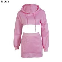 2 piece set women suit crop hoodie set top skirt female winter hooded sweatshirt tracksuit outfit two piece set(China)