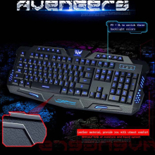 Bilingual Russian / English 3 Backlight Colors Wired Pro Gaming Keyboard with Adjustable Light Brightness for Laptop Desktop