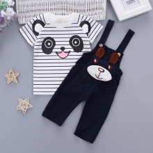 Baby Clothing Sets Kids Toddler Boys Girls Long Sleeve Panda striped T-shirt + Overalls Infant Child Clothes Outfits Sets 1-4Y