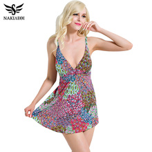 Buy NAKIAEOI 2018 Sexy One Piece Swimsuit Women Swimwear Print Swimming Suit Women Beachwear Dress Tankini Bathing Suit Swim XXL