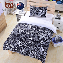 BeddingOutlet Skull With Flowers Bedding Set Black and White Duvet Cover With Pillowcases Quilt Cover Set AU SIZE Single Double