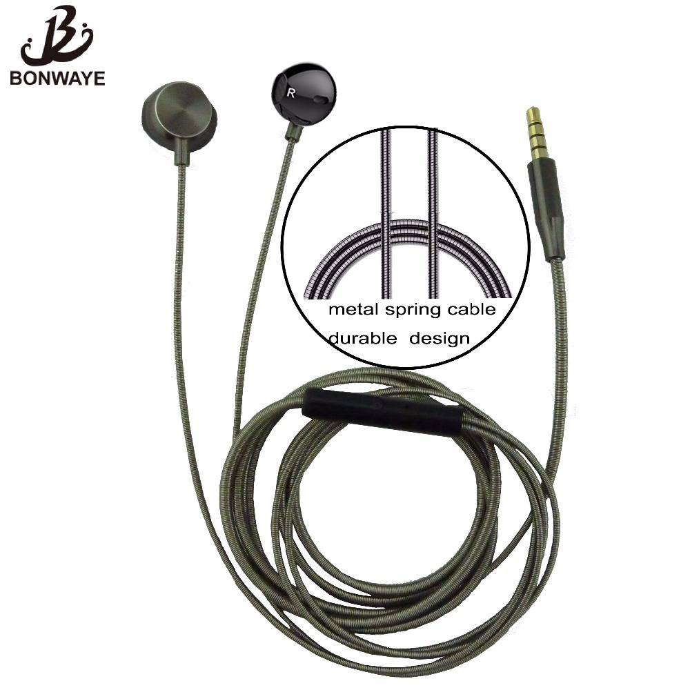 BONWAYE New Design In-ear Earphone with Spring Cable for Mobile Phone with 3.5mm Plug Wired Earphone