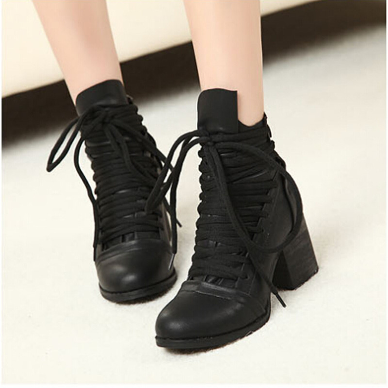 Women Ankle Boots High Heels 2017 Fashion Leather Shoes Woman Platform Flock Buckle Boots Ladies Shoes Female Botas Femininas<br><br>Aliexpress
