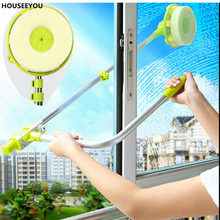 Amazing Window Glass Cleaning Tool Retractable Pole Cleaner Device with Melamine Sponge Head Double Faced Glass Scraper Wipe
