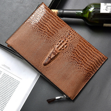 2017 Hot Sale High Copy The Crocodile Scalp Men Handbags Cellphone Card Wallet High-capacity Fashion Business Travel Male Purse(China)