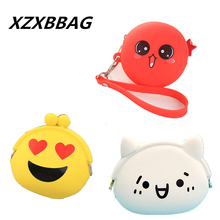 XZXBBAG Cute Expression Face Coin Purse Children kawaii Mini Coin Wallet Little Girl Silicone Pouch Cartoon Zero Wallet Coin Bag